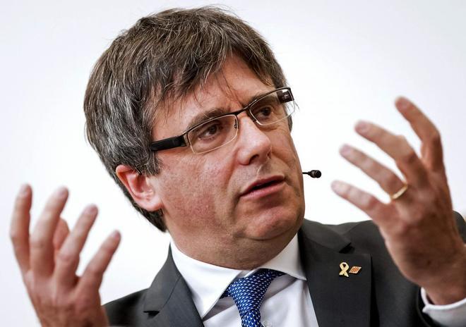 El ex presidente catalán Carles Puigdemont, en un acto celebrado en...