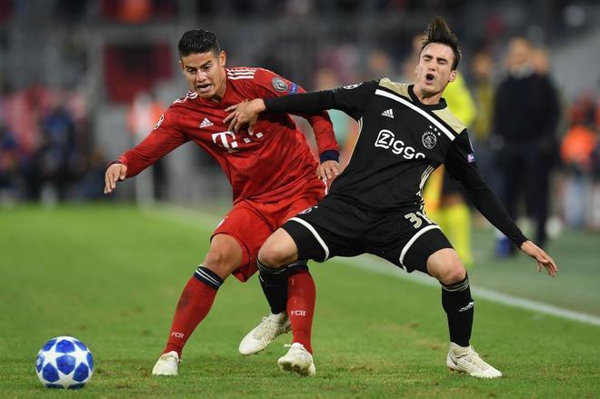 James Rodríguez, durante el pasado partido de Champions ante el Ajax.
