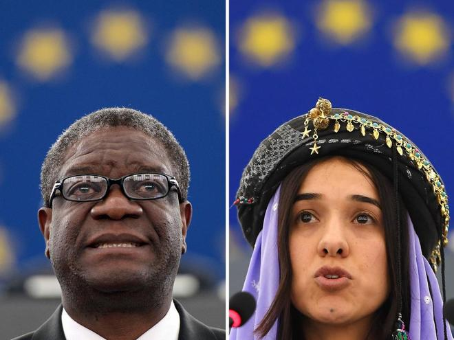 El ginecólogo congoleño Denis Mukwege y la activista yazidí Nadia Murad.