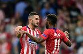 Koke y Thomas Lemar celebran un gol del Atlético de Madrid