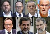 De izqda. a dcha. y de arriba a abajo, Oriol Junqueras, Jordi Turull,...