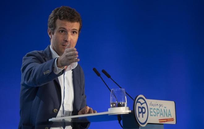 El presidente del PP, Pablo Casado, en un acto.