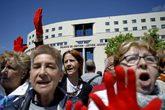 Manifestantes en Pamplona contra la sentencia de 'La Manada', el...