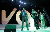 El líder de Vox, Santiago Abascal, este domingo en el centro del...