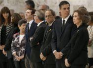 De derecha a izquierda, la Reina Sofía, Pedro Sánchez, Quim Torra, José Guirao y Pablo Casado, entre los asistentes al funeral de Montserrat Caballé.