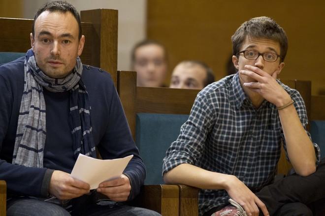 José Ramón Blanco, junto a Íñigo Errejón, en un acto de Podemos...