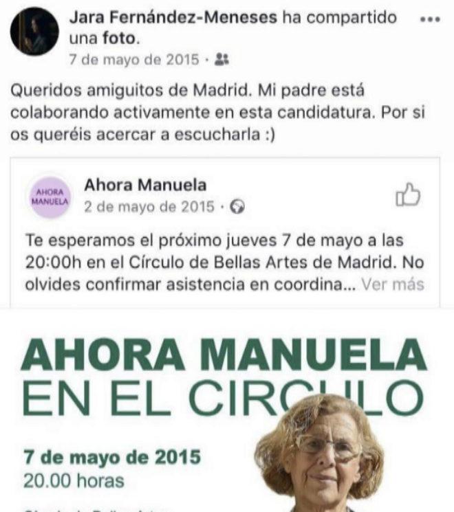Imagen del facebook de Jara Fernández instando a acudir a un acto de Carmena.