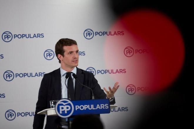 Pablo Casado, el lunes, en rueda de prensa antes de la reunión de la dirección del PP en Barcelona.
