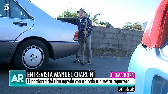 Manuel Charlín, con el legón con el que atacó al equipo de 'El...