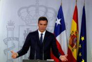 El presidente del Gobierno, Pedro Sánchez, durante una rueda de prensa en Moncloa.