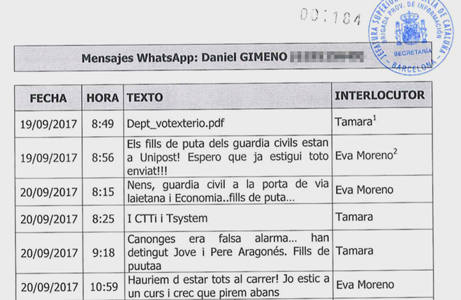 Mensaje de WhatsApp de Gimeno encontrados por la policía judicial.