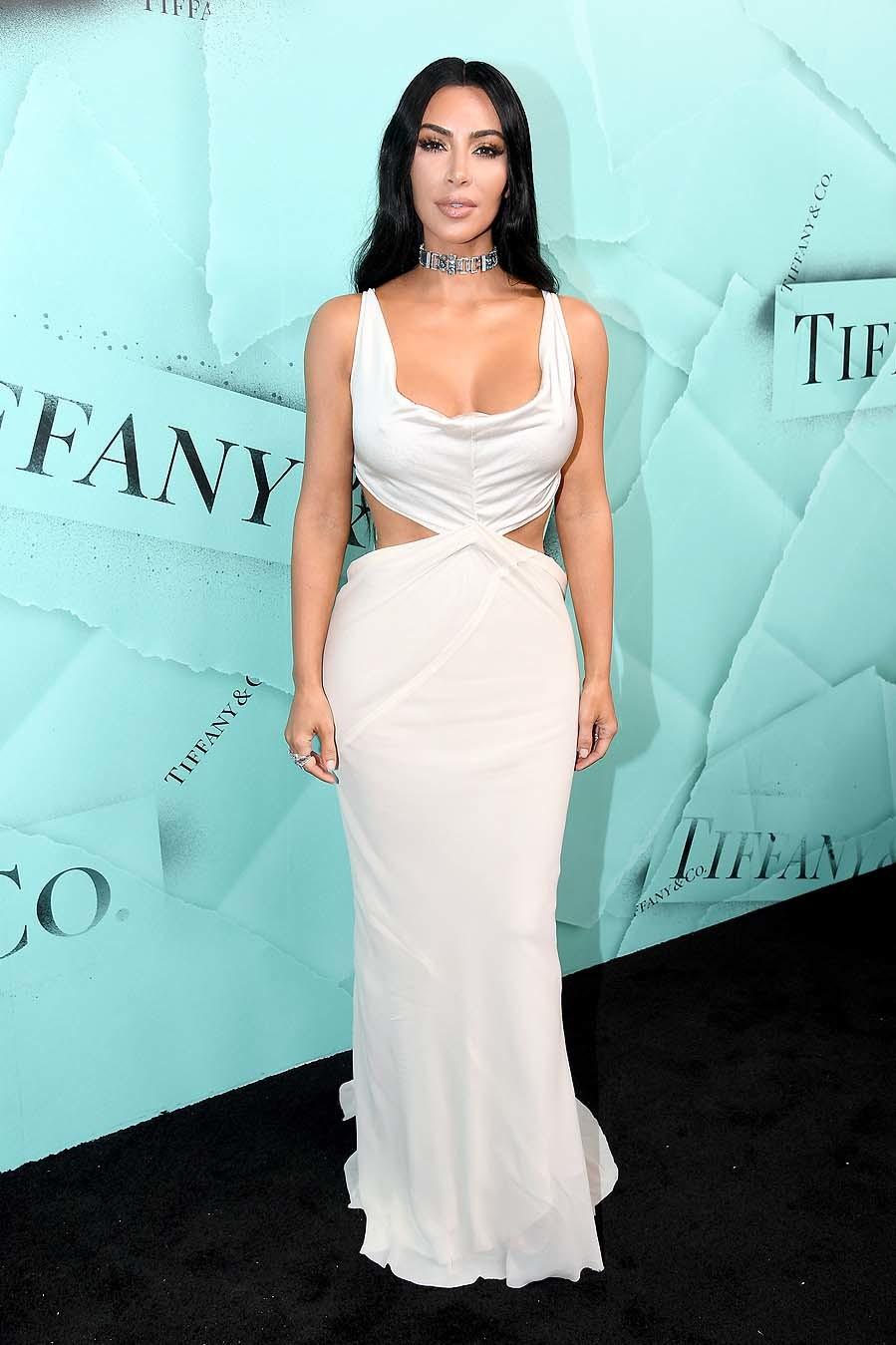 Kim fue el centro de atención del photocall con un vestido de Rick...
