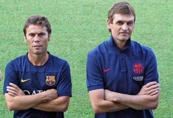 Rubi y Tito Vilanova posan como entrenadores del Barcelona.