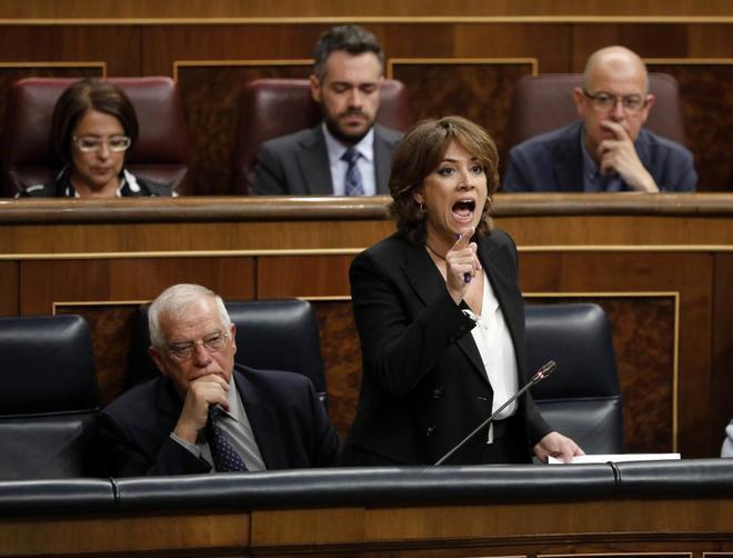 La ministra de Justicia, Dolores Delgado, durante la sesión de...