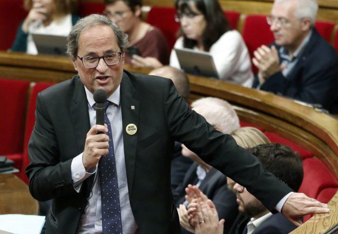 El presidente de la Generalitat, Quim Torra, en el pleno del...