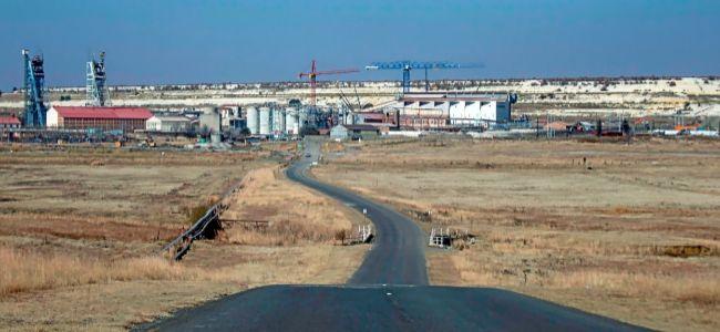 Pozos mineros en la sede de la mina Evander Gold en Mpumalanga, Sudáfrica.