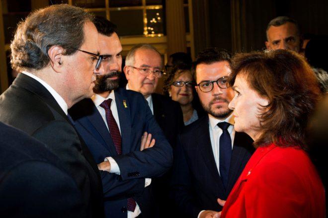 El presidente de la Generalitat, Quim Torra y su vicepresidente, Pere...