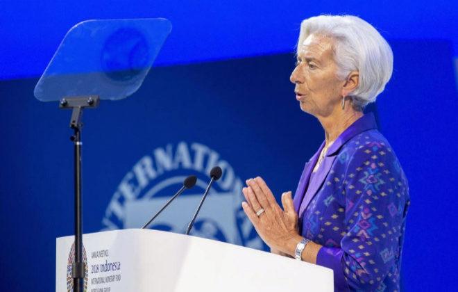 a directora gerente del FMI, Christine Lagarde, en el encuentro anual con el Banco Mundial.