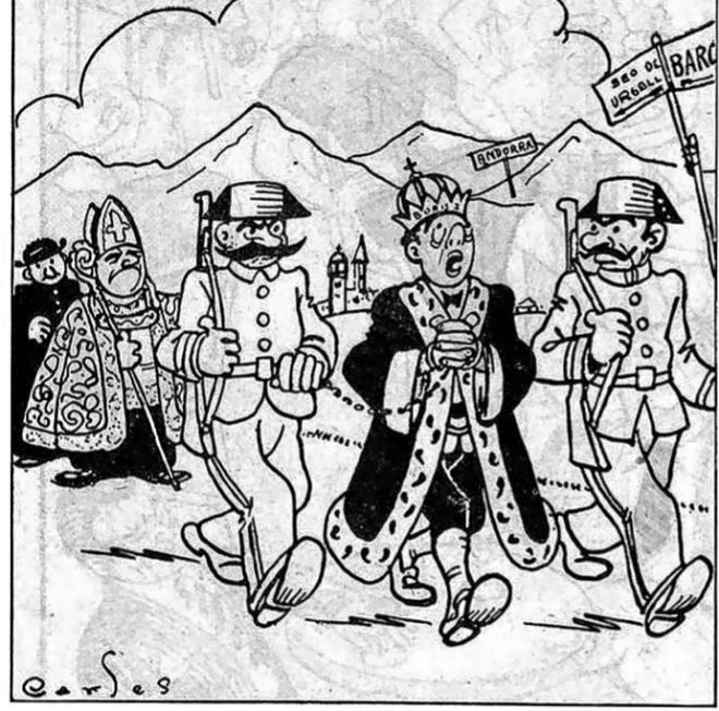 Viñeta de la época de Boris I cuando fue detenido por la Guardia Civil por orden del obispo de La Seu d'Urgell, en 1934.
