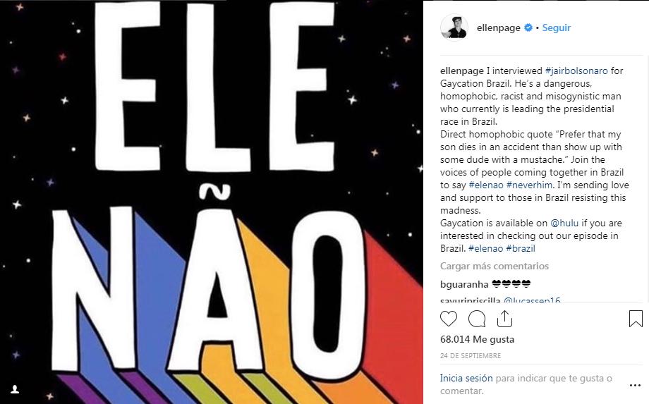 """Bolsonaro, a Ellen Page: """"Las libertades, las drogas y que la mujer trabaje han aumentado el número de homosexuales"""""""