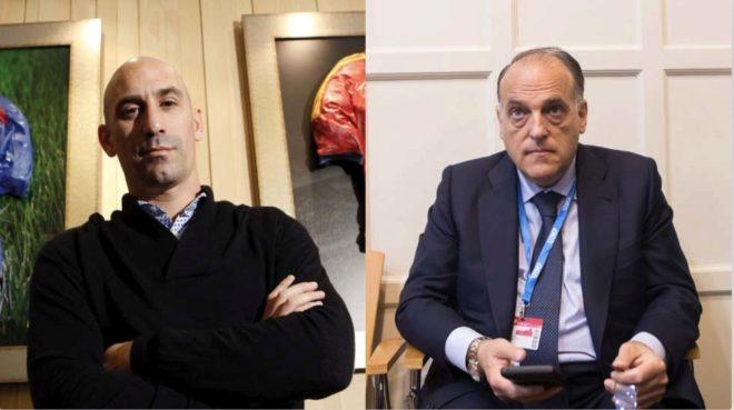 Luis Rubiales (izquierda) y Javier Tebas (derecha).