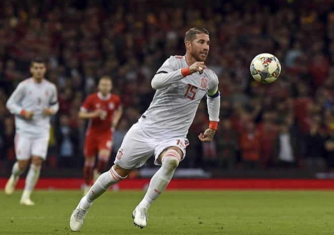 Sergio Ramos durante el último partido con la selección de España