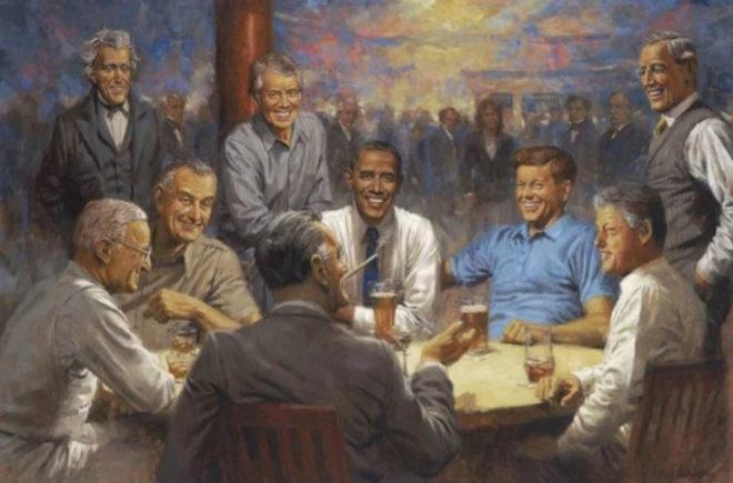 En 'El club demócrata', los ex presidentes rodean a Obama.