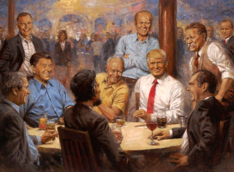 La obra 'El club republicano' muestra a Trump junto a otros ex...
