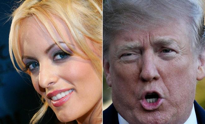 La actriz porno Stormy Daniels y el presidente estadounidense Donald Trump