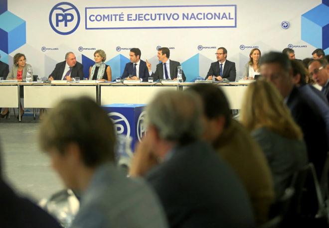 El presidente del PP, Pablo Casado, preside el Comité Ejecutivo...