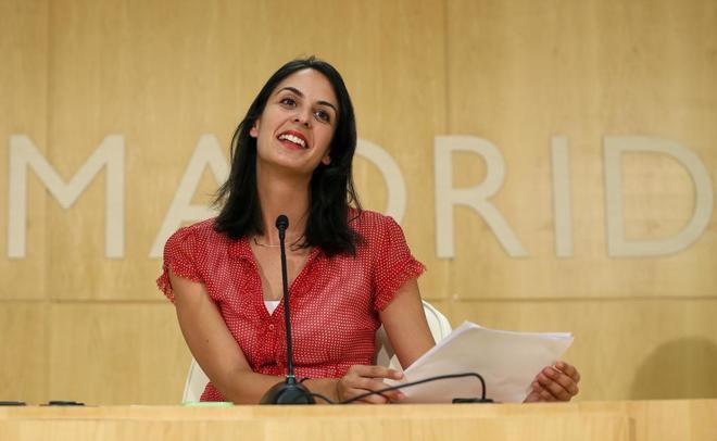 La portavoz del Gobierno municipal, Rita Maestre, durante una rueda de prensa en el Ayuntamiento.