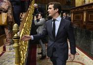 El presidente del PP, Pablo Casado, en el Congreso de los Diputados