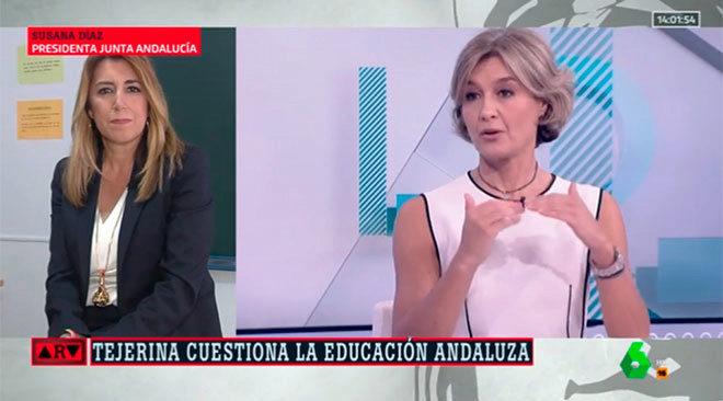 Susana Díaz, desde un aula en Málaga, responde a las palabras de García Tejerina en La Sexta..
