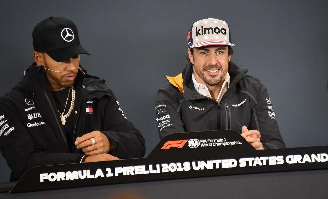 Alonso y Hamilton, durante la rueda de prensa del jueves en el Circuito de las Américas.