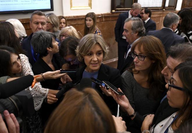 La ex ministra de Agricultura, Isabel García Tejerina, atiende a la prensa en el pasillo del Congreso