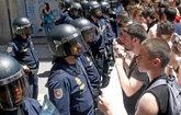 Un grupo de estudiantes en un manifestación en Valencia contenidos...