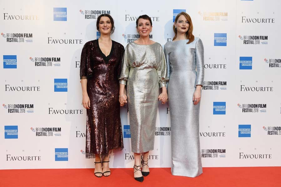 Rachel Weisz, Olivia Colman y Emma Stone en el estreno de 'The Favourite' en Londres