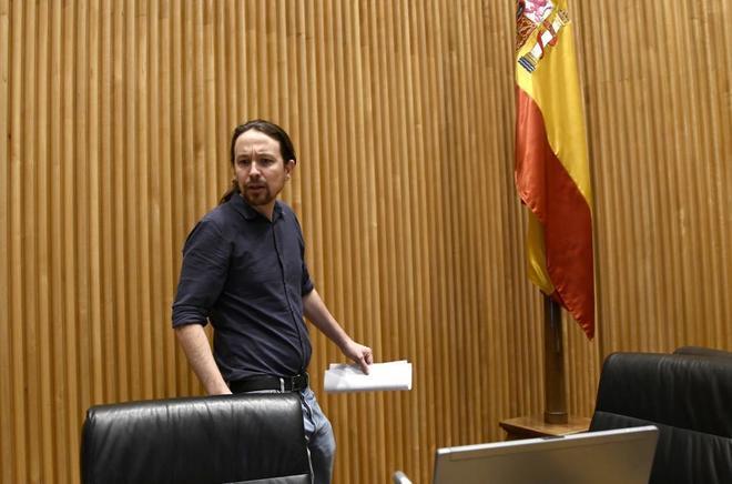 El secretario de Podemos, Pablo Iglesias, en el Congreso de los Diputados