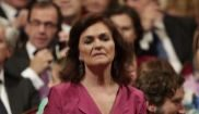 La vicepresidenta del Gobierno, Carmen Calvo, a su llegada al Teatro...