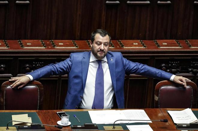 El vicepresidente y ministro de Interior italiano, Matteo Salvini, en el Congreso.