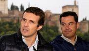 El presidente del PP, Pablo Casado, durante un acto con el candidato...