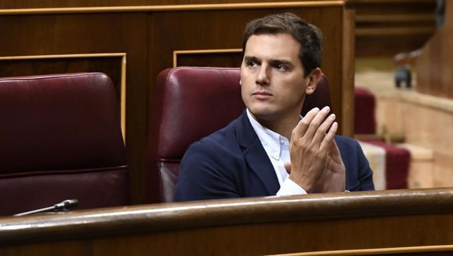 El presidente de Ciudadanos, Albert Rivera, en el Congreso de los...