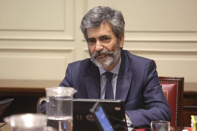 Carlos Lesmes, presidente del Tribunal Supremo, en una reunión de la Comisión Permanente del CGPJ.