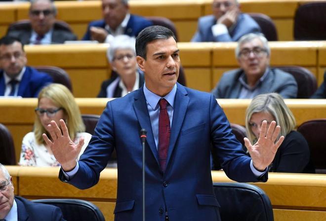 Pedro Sánchez, en el Senado este martes.