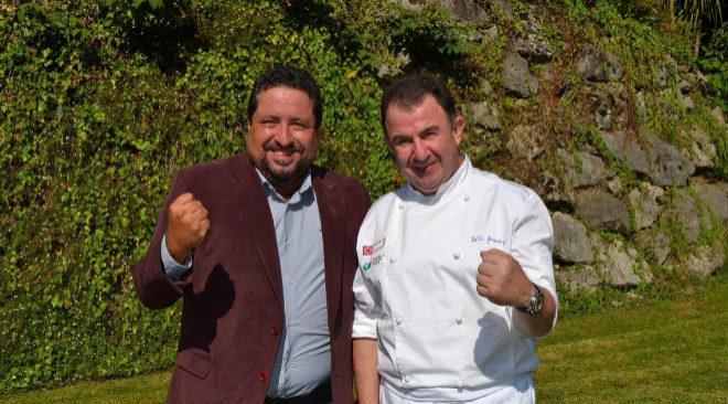 El chef Martín Berasategui junto al presidente de la Diputación de Castellón en la promoción de la ruta de Sabor.