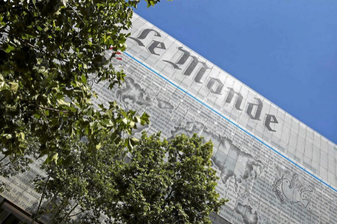 Fachada en París del diario 'Le Monde'.