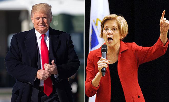 El presidente de EEUU, Donald Trump, y la senadora Elizabeth Ann Warren.