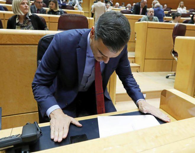 El presidente del Gobierno, Pedro Sánchez, este martes en la sesión...
