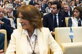 Ana Botella, delante de su hijo Alonso Aznar, este martes durante la...