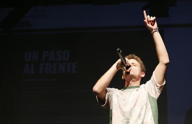El rapero Arkano, este martes, en la presentación de la campaña contra el acoso en la que participa